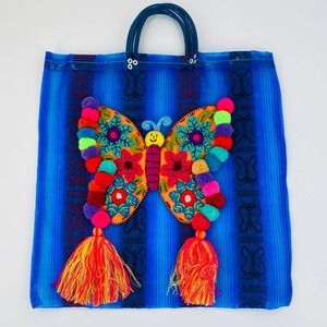 Very Unique Mexican Boho Butterfly Blue Large Bag